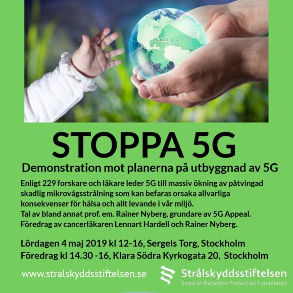 Demonstrationer Stoppa 5G i Stockholm och Malmö
