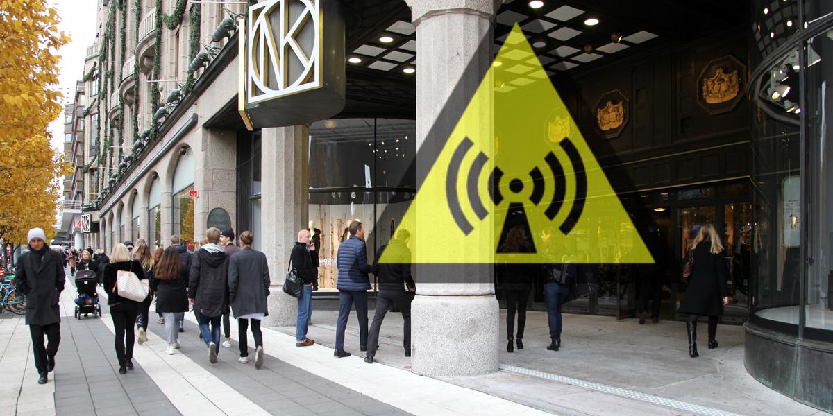 Mycket hög mikrovågsstrålning på NK och på Järntorget, Stockholm